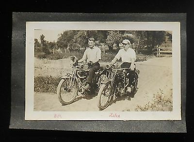 1920s Antique 2 Gents 1910s Flying Merkel and Excelsior Motorcycles Photograph