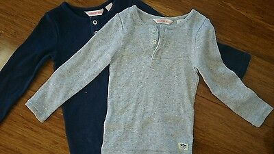 Lot of 2 Country Road henley tops/long sleeved tee, grey and navy blue