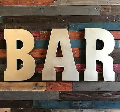 """BAR 20"""" Metal Industrial Block Marquee Letters Recycled Galvanized Pub Game Room"""