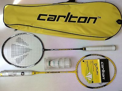 New Carlton Badminton Set 2 Players 2 Rackets  3 Shuttlecocks in Case