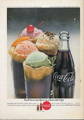 1962 Coca - Cola  PRINT AD Features floats made with Coke Great vintage photo