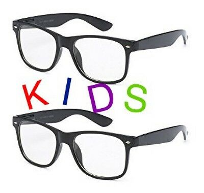 SMALL KIDS SIZE CLEAR LENS GLASSES Classic Nerd Hipster Geek WAYFARE Toddler