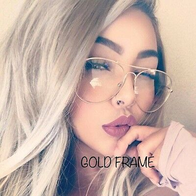 UNISEX Clear Lens Aviator Fashion Gold Glasses  Sunglasses Retro Vintage Metal