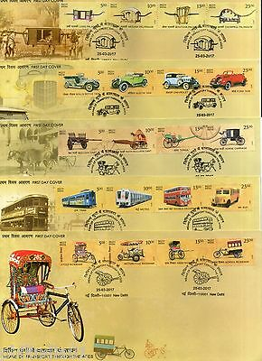 India 2017 Means of Transport Through the Ages Vintage Car Matro Tram Bus 5 FDCs