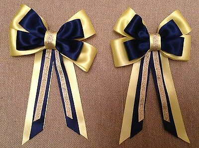 childs equestrian show bows - Yellow, Navy & Gold L@@K!