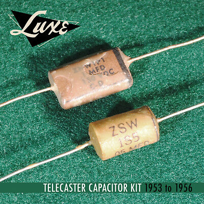 1953-1956 Telecaster Wax Imp. Paper & Foil .1mF & .05 Caps for Fender Guitars