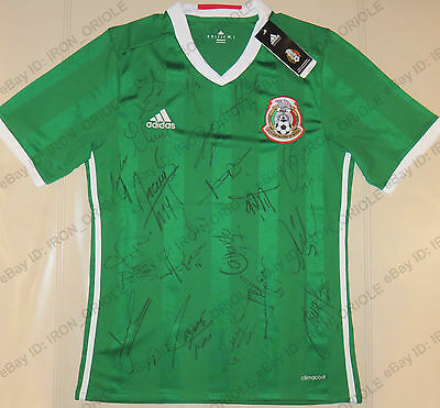 2017 MEXICO national team signed ADIDAS soccer jersey 100% Authentic autos PROOF