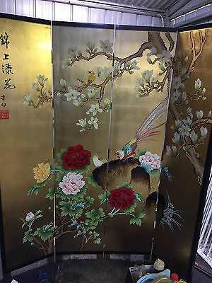Chinese Black/Gold Lacquer Screen