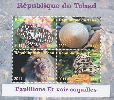 Butterfly Insect Oyster Shell Republique Du Tchad 2011 Mnh Stamp Sheetlet