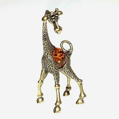 Giraffe Mom Brass Animal Figurine Honey Baltic Amber Sculpture Statue Souvenir