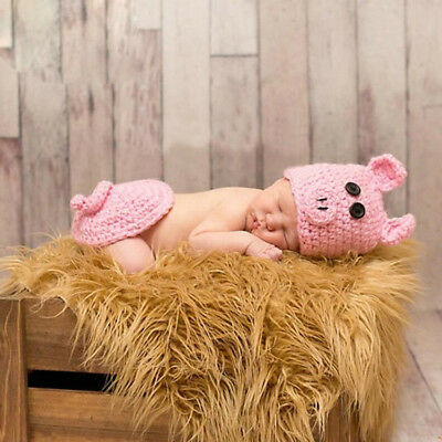 2pcs Pink Pig Baby Costume Newborn Crochet Pant + Hat outfits Photography Prop