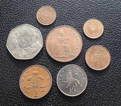 Great Britain Coin Lot - 7 Coins With Red Cents (ref3) Low Bid Start!