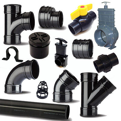 "Solvent Weld Waste Pipe & Fittings 1.25""/36mm To 4""/110mm For Ponds"