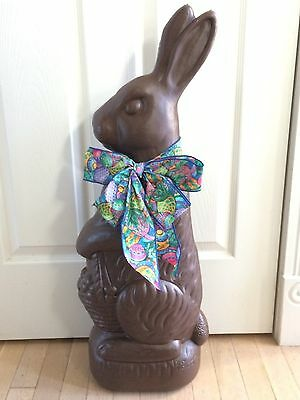 "1993 Don Featherstone Union 31"" Chocolate Bunny Rabbit Blow Mold Easter Egg Bow"