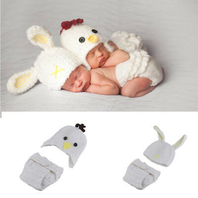 Baby Costume Newborn Crochet Pant + Hat outfits Photography Prop White Rabbit