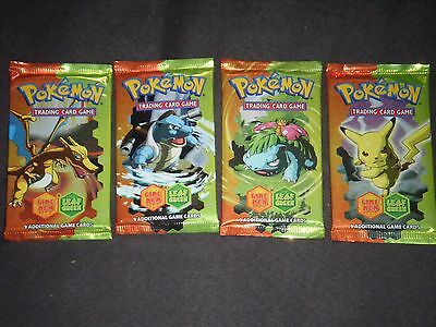 WOTC Pokemon Fire Red, Leaf green Booster Packs x 4, new, sealed, all artworks