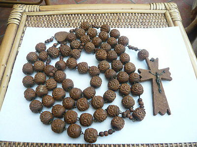 Antique Old Large Wood Prayer Brigittine Rosary Rosaries Beads Cross Crucifix