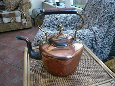 """LARGE 12"""" GENUINE VICTORIAN COPPER RANGE KETTLE By WILLIAM SOUTTER MARKED SIZE 9"""