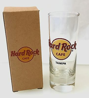"Hard Rock Cafe TAMPA FL 2010 SHOT GLASS 4"" Classic HRC Logo w/RED CIRCLE Cordial"