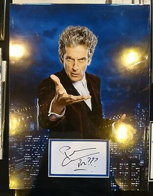 Dr Who Peter Capaldi signed 16x12 photo card display PROOF AFTAL