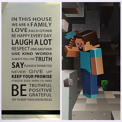 Removable Vinyl Decal Art Mural Family Minecraft 3D Decor Quote Wall Sticker UK