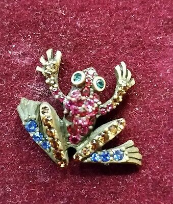 jay strongwater Aidan Jumping Frog swarowsky crystal  lapel pin Retired