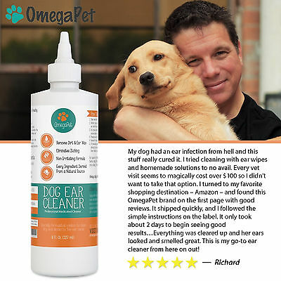 Dog Ear Cleaner Gentle Natural Drops Best for Yeast, Mites and Infection For Pet