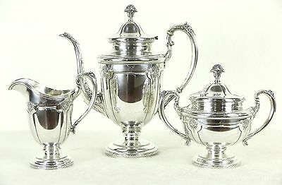 Towle Signed Sterling Silver 1920 Antique 3 Pc. Coffee Set Louis XIV Pattern