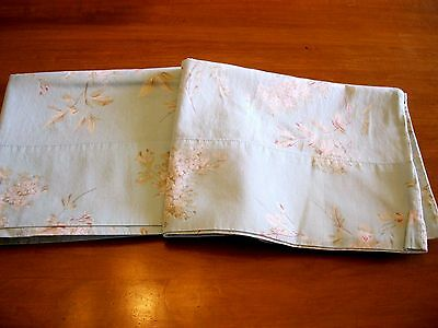 Vintage Baby Blue With Pink Cream Ecru Floral 100% Cotton Queen Size Pillowcases
