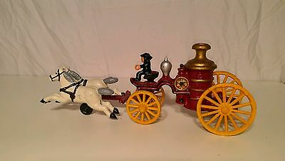 Vintage Cast Iron Firefighter Horse Drawn Truck Steam Pumper w/ Driver - $60 OBO