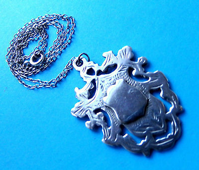 Antique Silver Ornate Engraved Watch Fob Dated 1911,double Sided ,20 Inch Chain