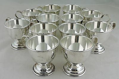 Vintage Nickel Silver Footed Cup Set Of 12 Holloware