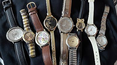Ladies wrist watches job lot of costume watches new batteries needed