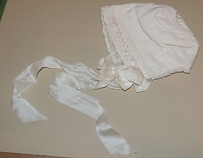 Antique Silk Christening Baby Bonnet Fine Details Ribbon Ties Heirloom Quality