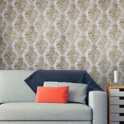 Vintage style paper Wallpaper rolls wallcovering damask gold ivory textured 3D