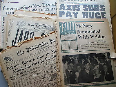 WWII Original Newspapers - FOURTEEN Misc. From 1940 to 1945