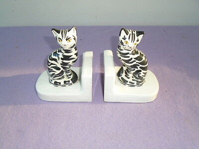 1960's Vintage Italian Art Pottery - Pair of Cat bookends