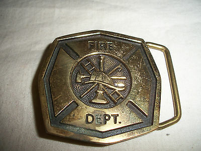 Vintage 1978 Fire Department Solid Brass Bts Usa Belt Buckle