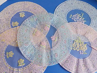 Vintage Lot of Delicate Lightweight Doilies Pink and Blue Pastels Mesh Material
