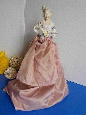 Antique Pin Cushion Doll Beautiful Half Doll Holding Fan Porcelain Numbered