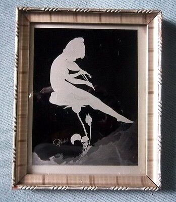 Vintage Diefenbach Silhouette Framed Nymph Sitting on Flower Mandolin Signed