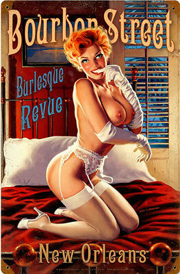 Bourbon Street / Pin Up Metal Sign Greg Hildebrandt
