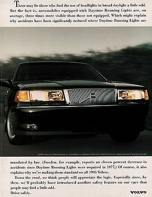 1994 Volvo Daylight Running Lights Front End Of Car Print Ad