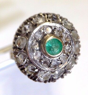 Antique 18K Yellow gold and Sterling Silver Diamond and Emerald Ring Size 3.5