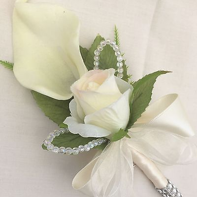 Buttonhole, Corsage, Ivory Cala Lilies & Roses, Artificial Silk Wedding Flowers