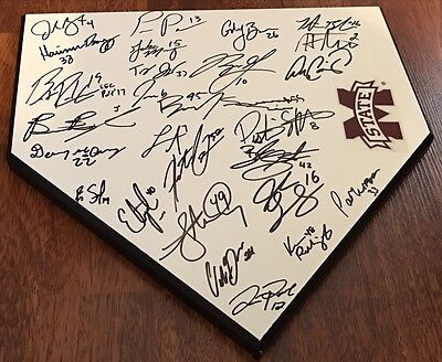 2017 Mississippi State Bulldogs Team Signed Home Plate W/coa Brent Rooker