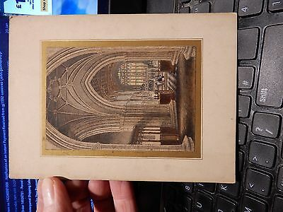 MICRO ENGRAVING CHRCH KNAVE PUGIN ESQUE extreme detail coloured 75 x 100 mounted
