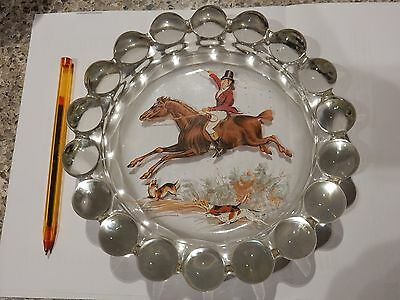PRESSED GLASS Bon Bon  Nut dish ? with detailed Hunting scene Georgian + hounds