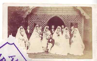 AYLESBURY WEDDING 1870 remarkable pair of CDV from society wedding to research E