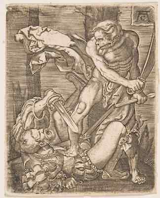 "Allaert Claesz After Jacob Binck (1508-1555) Dutch ""Death and the Foot Soldier"""